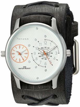 Nemesis Men's Dual Time Stainless Steel Analog-Quartz Leather Strap Grey 37.8 Casual Watch (Model: FXB219S)