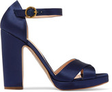 Rupert Sanderson Savanna Satin Sandals - Navy