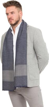 likemary Mens Scarf 100% Merino Pure Wool Warm Elegant Winter Muffler Ethical Fairtrade & Handwoven Diamond & Herringbone Mix Blues