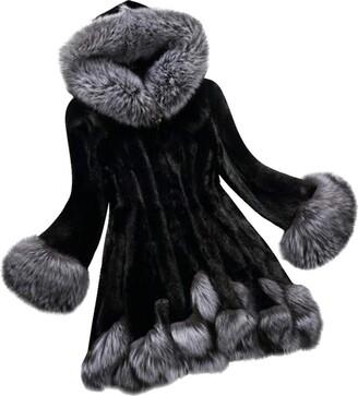 TOPKEAL Coat Women Winter Jacket Ladies Long Sleeve Parka Warm Fox Fur Overcoat Casual Fashion Outwear (Black XXXXX-Large)