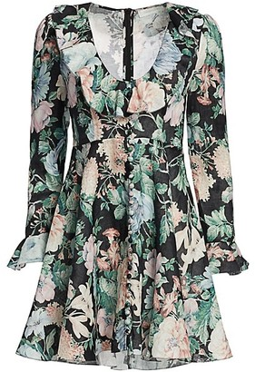Zimmermann Verity Plunging Floral Linen Mini Dress