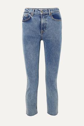 GRLFRND Reed Cropped Frayed Acid-wash High-rise Slim-leg Jeans - Mid denim
