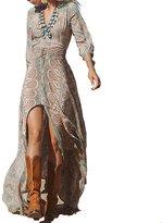 Goodbuy-US Women's Printed Elastic Waist Split Front Chiffon Bohemian Maxi Dress (S, )