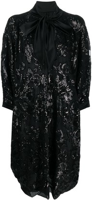 Gianluca Capannolo Oversized Sequin Shirt Dress With Pussy Bow Detail