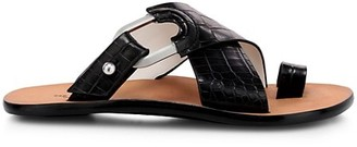 Rag & Bone August Croc-Embossed Leather Slide Sandals