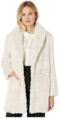 Tribal Shawl Collar Coat (Cream) Women's Clothing