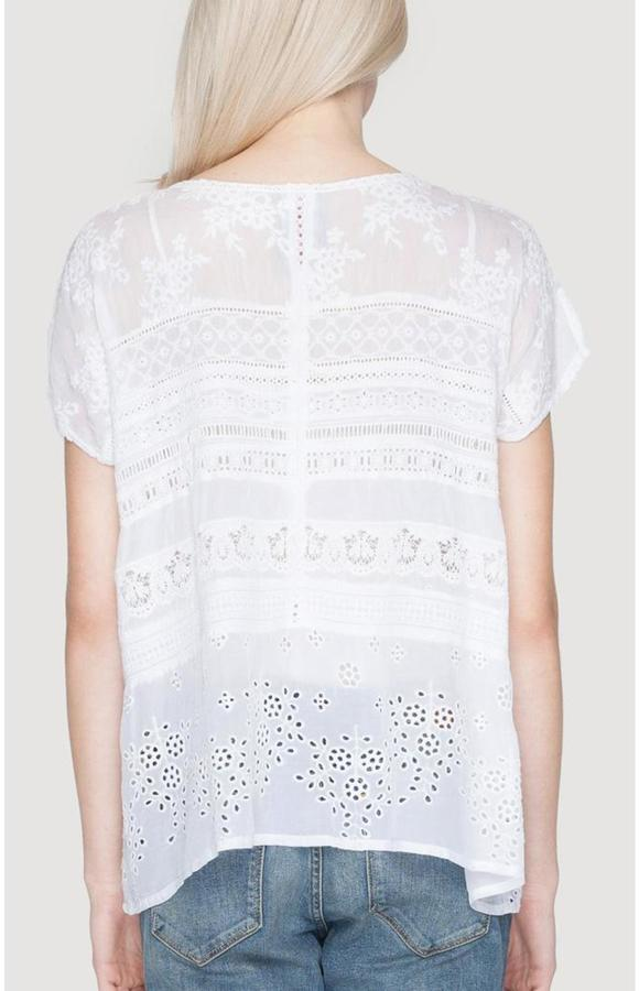 Johnny Was Embroidered Trim Tee