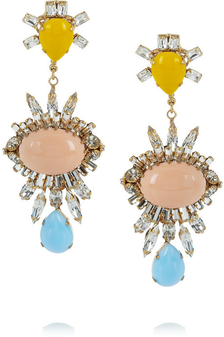 Swarovski Bijoux Heart Gold-plated crystal, glass and resin earrings
