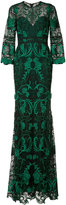 Marchesa rose embroidered gown - women - Nylon/Polyester - 0