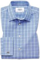 Charles Tyrwhitt Classic Fit Prince Of Wales Blue and Green Cotton Dress Casual Shirt French Cuff Size 17.5/36