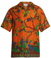 Gucci Jubilee-print Short-sleeved Silk Shirt