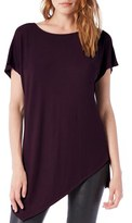 Michael Stars Asymmetrical Ribbed Short Sleeve Tunic