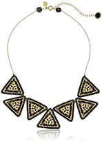 """Miguel Ases Black Quartz and Onyx Large Uneven Triangle Collarbone Chain Necklace, 16"""" + 3"""" Extender"""