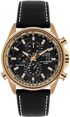 Citizen Eco-Drive Rose Goldtone Stainless Steel Leather-Strap Chronograph Watch