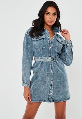Missguided Blue Western Belted Denim Mini Dress