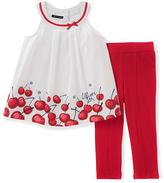 Tommy Hilfiger White Cherry Bow Yoke Tunic & Red Leggings - Infant & Toddler