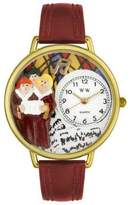 Whimsical Watches Choir Burgundy Leather and Goldtone Unisex Quartz Watch with White Dial Analogue Display and Multicolour Leather Strap G-0710012