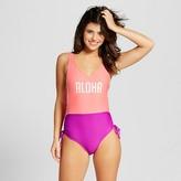 Xhilaration Women's Cheeky High Leg One Piece - Pink/Purple Color Block