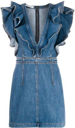 Philosophy di Lorenzo Serafini Ruffle Trim Denim Dress