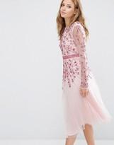 Maya Embellished Fit and Flare Midi Dress