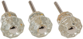 Rejuvenation Trio of Petite Glass Cabinet Knobs c1900