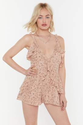 Nasty Gal Womens Flower Down Ruffle Plunging Playsuit - Pink - 14