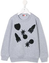 MSGM bomb, rocket and shield patch sweatshirt