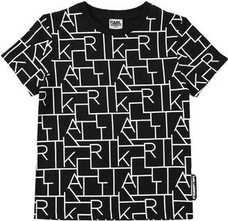 Karl Lagerfeld Paris All Over Print Cotton Jersey T-Shirt