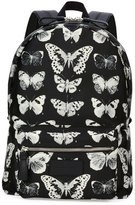 Alexander McQueen Moth-Print Backpack, Black/Ivory