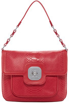 Longchamp Gatsby Croc Embossed Leather Shield Shoulder Bag