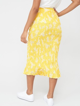 Very Shirred Midi Skirt - Yellow Floral