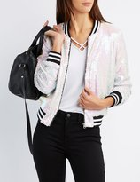 Charlotte Russe Sequin Striped Bomber Jacket
