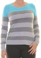 Pink Rose Womens Juniors Striped Mesh Yoke Pullover Sweater Blue L