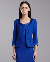 St. John Shimmer Lattice Peplum Jacket, Vivid Blue