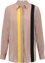 MSGM Color-block washed-silk blouse