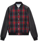 Gucci Tartan and leather bomber jacket