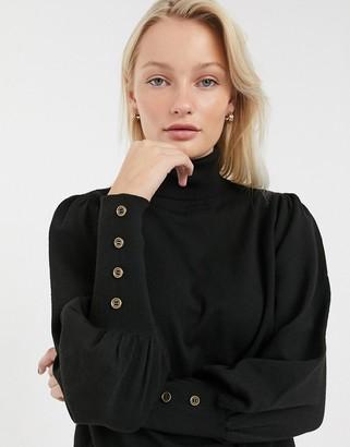 Only Julie puff sleeve roll neck jumper-Black