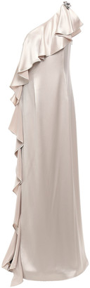ZAC Zac Posen Embellished Ruffled One-shoulder Satin-crepe Gown
