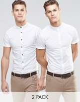 Asos Skinny Shirt In White With Grandad Collar And Short Sleeves 2 Pack
