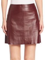 Theory Irenah L Wilmore Leather A-Line Skirt