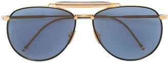 Thom Browne Matte Navy & Yellow Gold Aviator Sunglasses