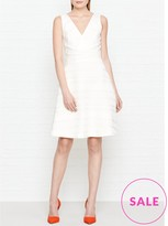 Reiss Daisy Stripe Texture Fit And Flare Dress -White