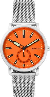 Skagen Men's Colden 3-Hand Silver-Tone Steel-Mesh Watch, 40mm