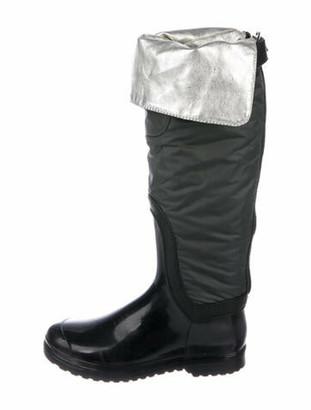 Dolce & Gabbana Leather Trim Embellishment Rain Boots Grey