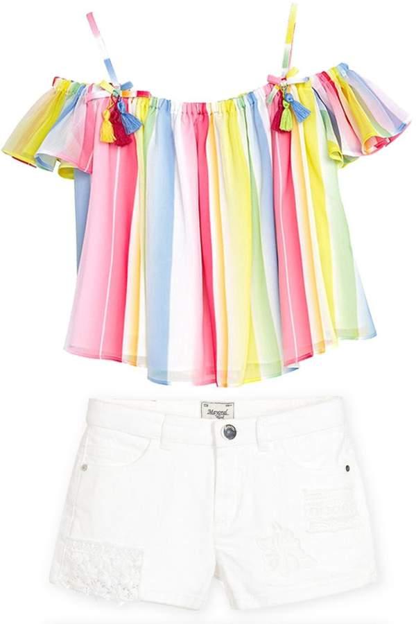 Mayoral White Denim/lace Shorts