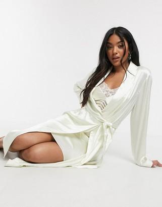 Calvin Klein Black Spring Rose bridal robe in ivory