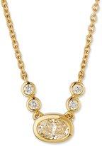 Memoire Bezel-Set Oval Diamond Pendant Necklace in 18K Yellow Gold, 0.30 tdcw