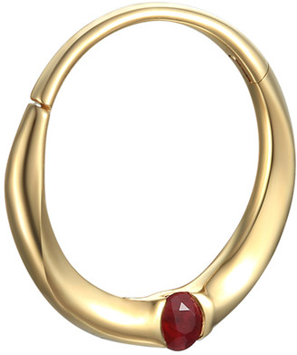 Pamela Love 11MM Floating Ruby Clicker Single Hoop Earring - Yellow Gold