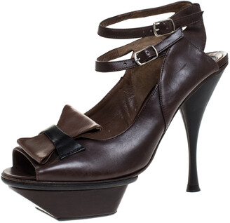 Marni Brown Leather Ankle Strap Platform Sandals Size 38.5