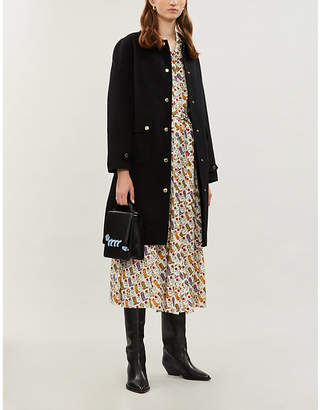 Sandro Gilded-button wool-blend coat